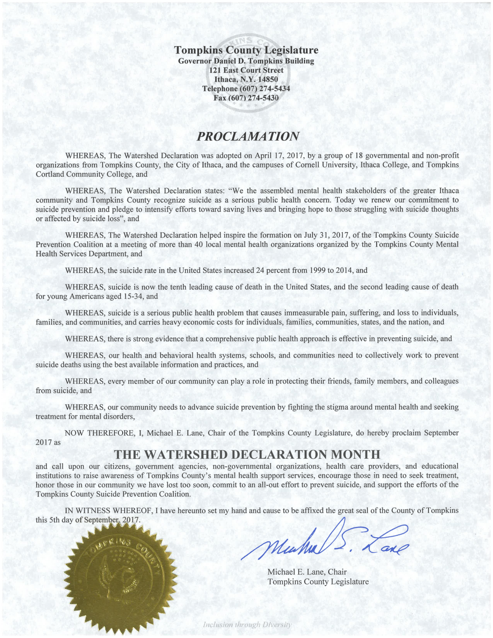 New york tompkins county ithaca 14850 - Tompkins County Legislature Proclamation