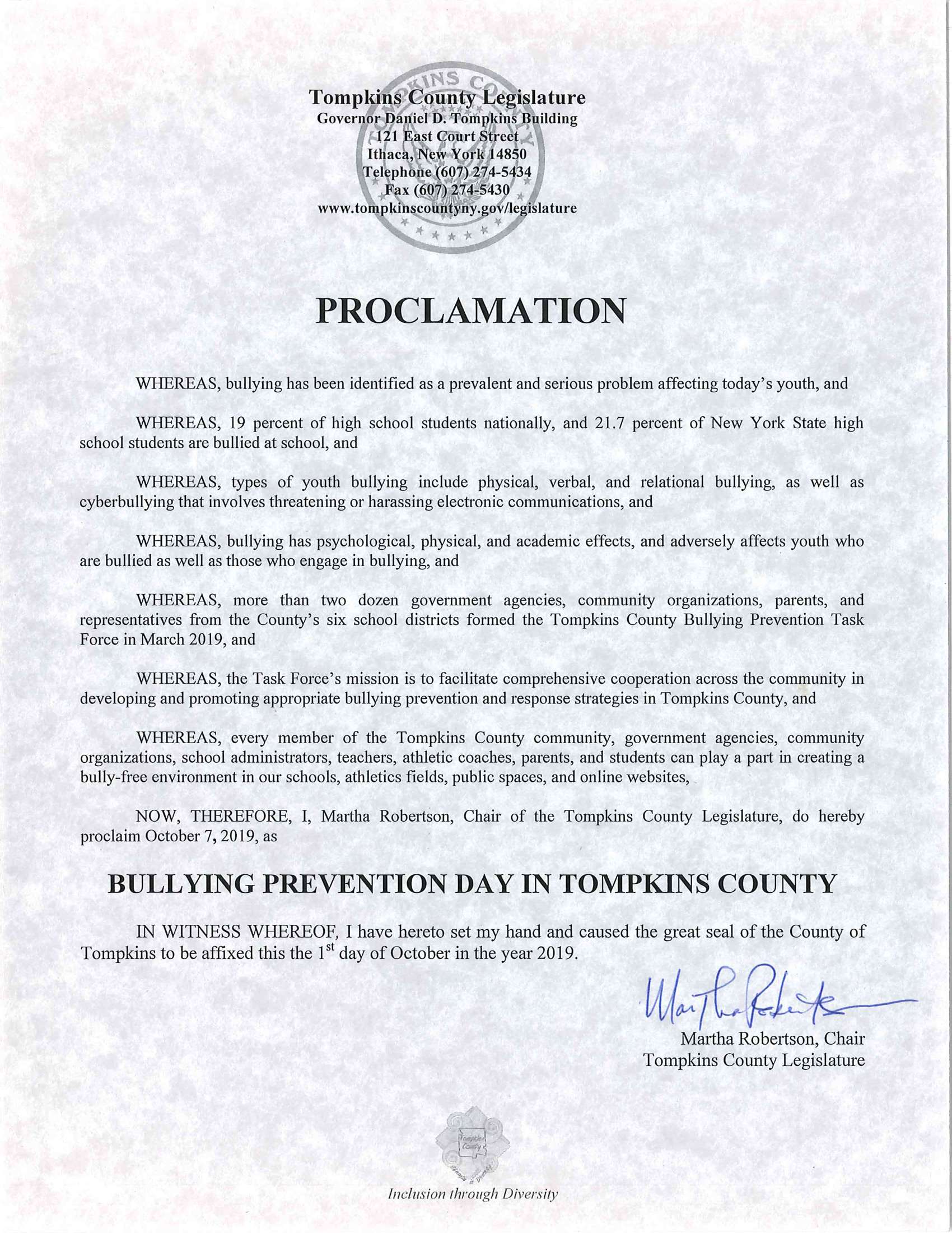 TC Bullying Prevention Day Proclamation